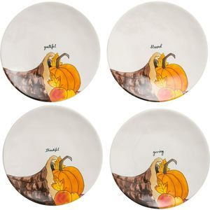 "Rae Dunn Thanksgiving 11"" Dinner Plates Set of 4"